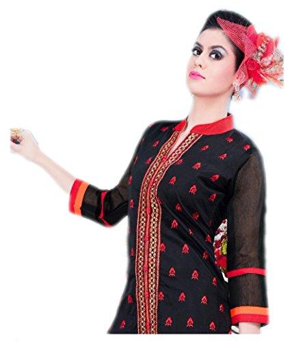 Jayayamala Coton femmes noires Tunique Top brodé Boho Tunique