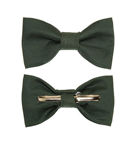Toddler Boy 4T 5T Boys Hunter Green Clip On Cotton Bow Tie - Made In The USA by amy2004marie