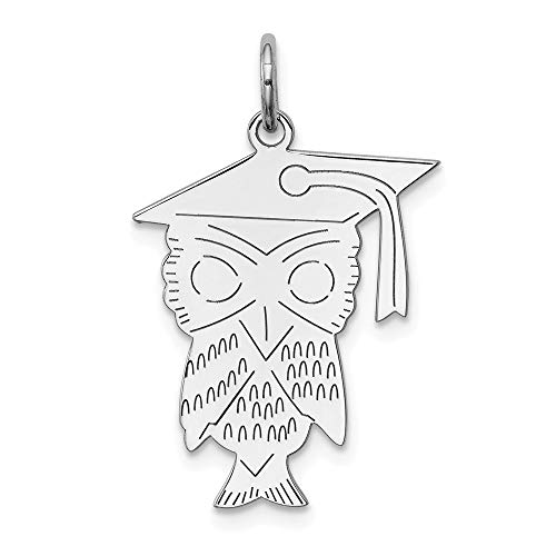 925 Sterling Silver Rhodium-plated Owl Polished Charm