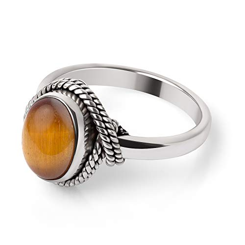 925 Sterling Silver Brown Tiger Eye Gemstone Oval Rope Edge Vintage Band Ring Size 10
