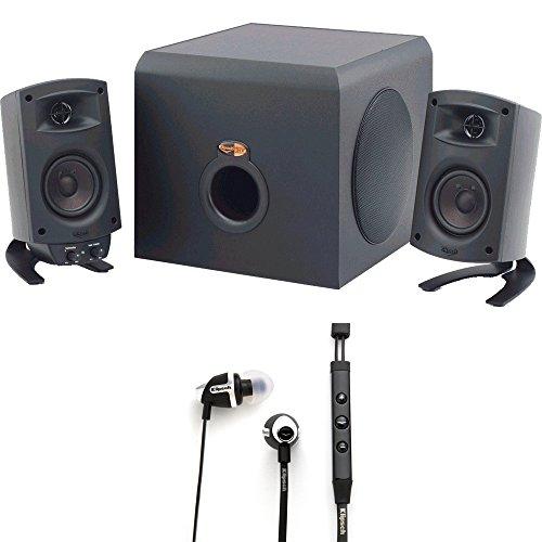 Klipsch-ProMedia-21-THX-Certified-Speaker-System-Black-1011400-with-Klipsch-Image-S4i-II-Black-In-Ear-Headphones