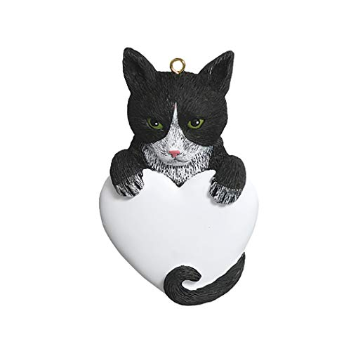 (Personalized Tuxedo Cat Christmas Tree Ornament 2019 - Black White Kitty Heart Breed Domestic Pet Paw Faithful Friend Fur-Ever Purr Woman Crazy Game Family R.i.p. Gift Year - Free Customization)