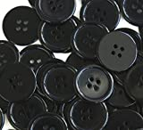 GANSSIA 1 Inch Buttons 25mm Sewing Flatback Button Black Colored Pack of 50