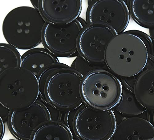 GANSSIA 1'' (25mm) Sewing Flatback Buttons Black Colored Pack of 50