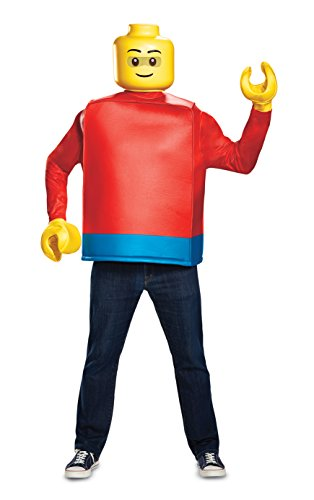 Disguise Men's Lego Guy Classic Adult Costume, Blue, One Size