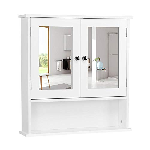 Yaheetech Bathroom Wall Mount Medicine Cabinet with Double Mirror Doors and Adjustable - Mirrors With Cabinet Lights Ikea Bathroom