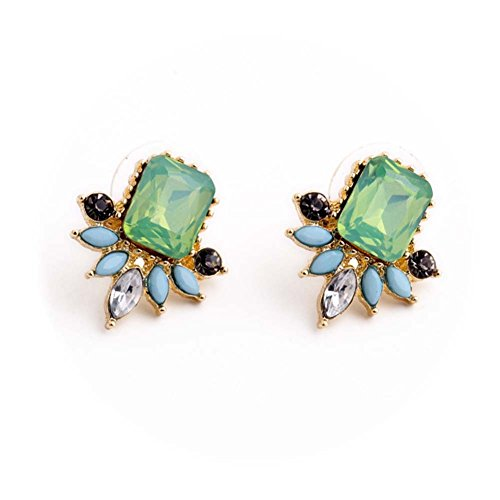 ds with Swarovski Crystal Earrings Women Vintage Teardrop Green ()