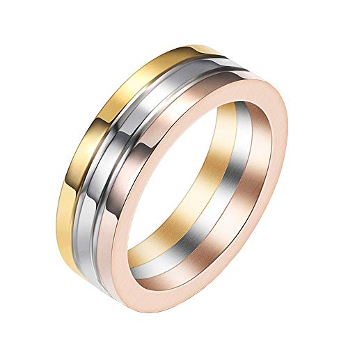 IFUAQZ Unisex Tri-Color Stainless Steel Engagement Wedding Band Rings for Women and Men Silver Rose Gold 3 Rows Size 7
