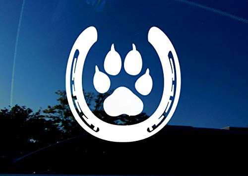 "Horse and Dog Lover - PAW Inside Horse Shoe- White - 5"" x 5"" inches - Actual Size of Large Dog paw and Horse Shoe - Animal Decal Sticker for car Trailer Truck Window Wall Laptop."