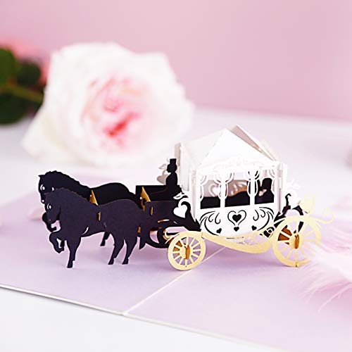 Liif Magic Carriage Wedding 3D Greeting Pop Up Card For All Occasions, Happy Birthday Card, Valentines Day Card, Romance, Engagement, Anniversary Card, Anniversary Gifts For -