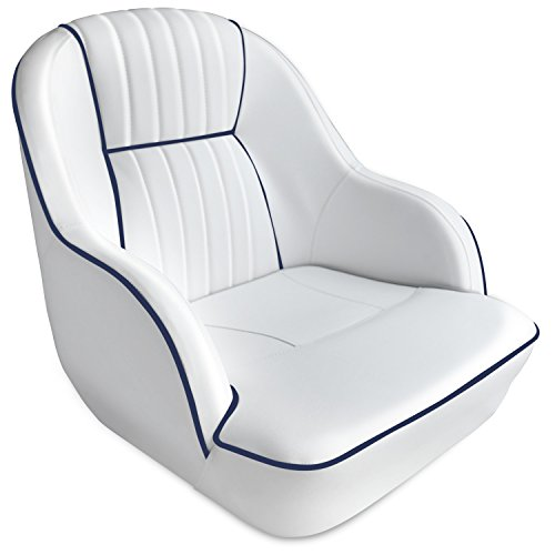 Leader Accessories Pontoon Captains Bucket Seat Boat Seat (White/Navy Blue Piping)