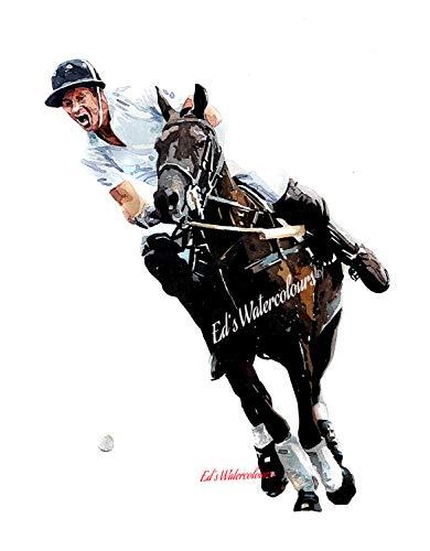 Polo Player Prince Harry – Print Watercolour, polo art, polo player print, polo player décor, polo player Watercolour…