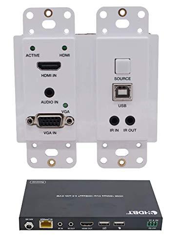 4K HDbaseT Wall Plate 2 Gang Extender Kit USB VGA HDR 18GBPS HDMI Over Single CAT5e CAT6 CAT7 2.0B 4K @ 60hz UltraHD YUV 4:4:4 330FT 100M Transmitter Receiver IR - Vga Plate Wall Usb