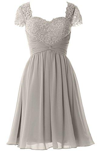 Women Mother Cap of Chiffon Silver Dress Dress MACloth Short Sleeve Cocktail Bride Lace qAxq8wCd