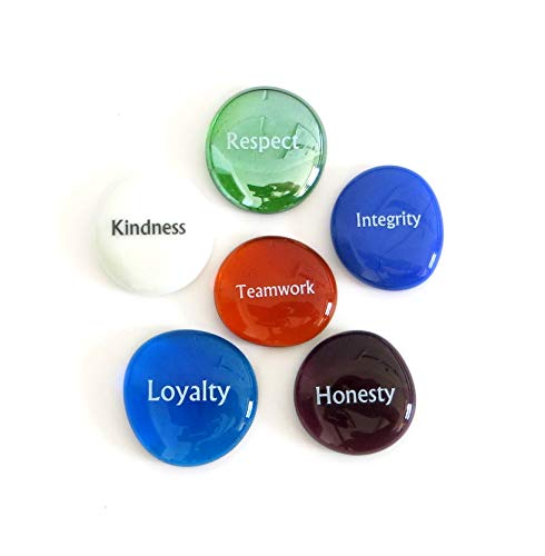 (Lifeforce Glass Character Builder Glass Stones, Focus Words for Teaching Tools, Concentration or Motivation. Set of)