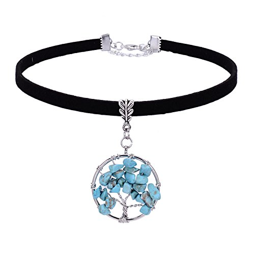 Turquoise Necklace Tree of Life Choker Necklace Wire Wrap...