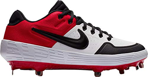 Nike Men's Alpha Huarache Elite 2 Baseball Cleats (White/Red / 10.5 M US)