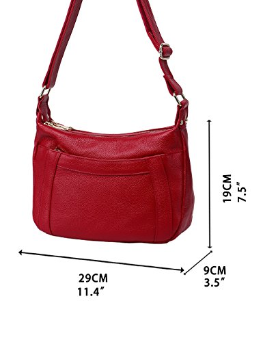 Shoulder Cross 336 Wine Red Womens Leather Travel Genuine Black body AwxvWEqZI