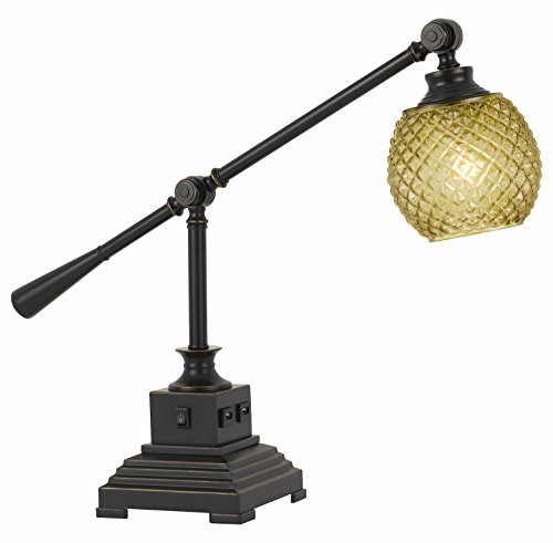 (60W Brandon Metal Desk Lamp with Glass Shade and 2 USB Outlets)