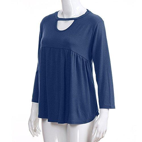 Mecohe a da Donna Casual T Camicetta Pieghe Top Collo Blu Camicia Lunga Solido Shirt Vuoto Manica a Ruffled rt1qtw7x