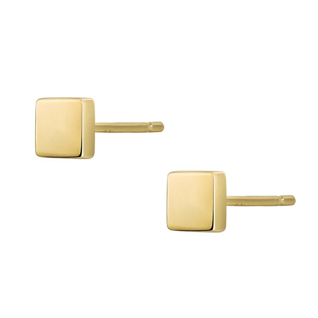 S.Leaf Minimalism Dainty Stud Earrings Sterling Silver Mini Ball,Square Stud Earrings Everyday Wear (Square-Gold)