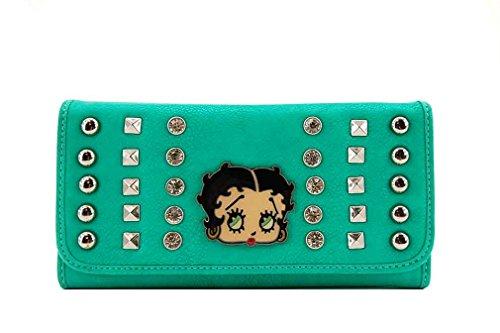 Betty Boop Tri-fold Wallet with Metal Studs and Rhinestones (Dark Mint)