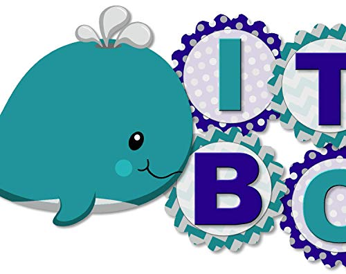 Whale Baby Shower Banner Party Decoration Supplies for Boy -