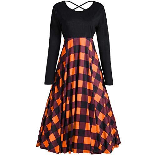 (Shusuen Dresses for Women Loose Vintage Casual Long Sleeve High Waist Gown Cross Bandage Plaid Stitch Party Dress)