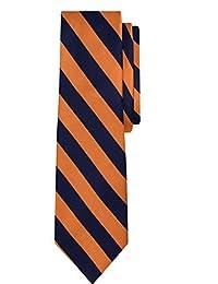 Jacob Alexander Stripe Woven Boys Regular College Striped Tie - Orange Navy