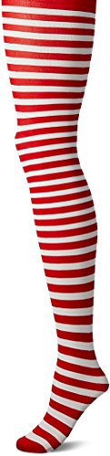Leg Avenue Women's Nylon Striped Tights, White/red One -
