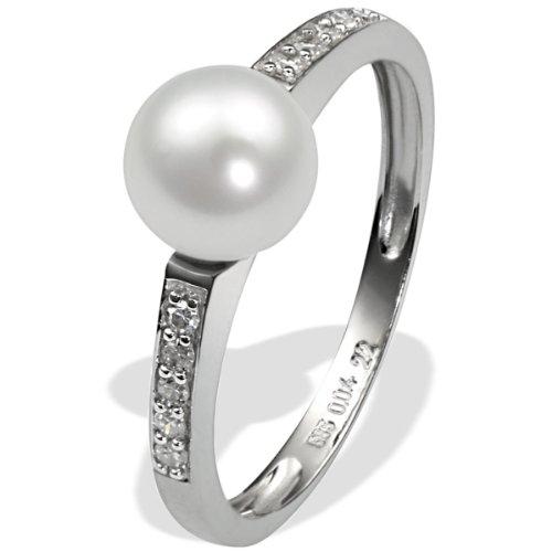 Goldmaid - R3601WG37558 - Bague Femme - Or blanc (9 cts) 1.6 Gr - Diamant - Perle d' Eau douce - T 56.5