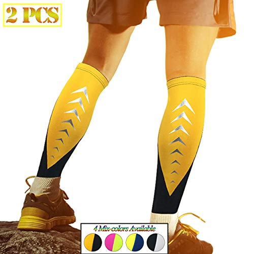 HiRui Calf Compression Sleeve, Calf Brace Leg Sleeve Support for Shin Splint Pain Relief – Basketball Football Calf Sleeve, Guard for Youth & Adult Runners-Color as Shown (1 Pair) (Black/Yellow, XL)
