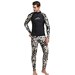 WUAI Mens Diving Wetsuits 3mm Long Sleeve Neoprene 2-Pieces Hooded Super Stretch Camo Spearfishing Wetsuits