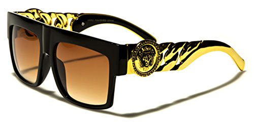 Flat Top Gold Chain Link Hip Hop Rapper Aviator Celebrity Sunglasses BLACK (Products Top Link)