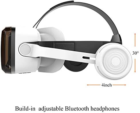VR Headset with Bluetooth Headphones, Eye Protected HD Virtual Reality Headset,VR Glasses for iPhone and Android Phone Within 4.7-6.2Screen 41WPL6eF7ZL