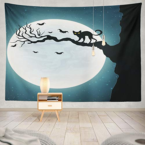 Summor Tapestry Halloween Black Cat Tree Bats Fly Against Full Moon Hanging Tapestries 60 x 80 inch Wall Hanging Decor for Bedroom Livingroom Dorm ()