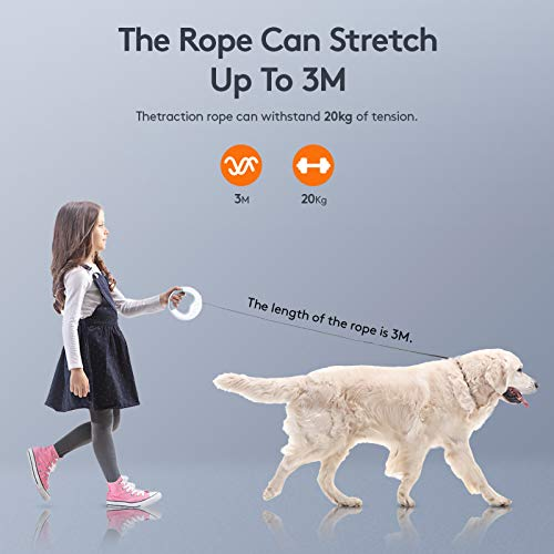 Saike Heavy Duty Retractable Dog Leashes with Flashlight, 360° Tangle Free Dog Walking Leash with Anti-Slip Handle, One-Hand Brake Pet Leash for Puppy Small Medium Large Dogs
