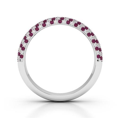 Or blanc 18carats 0,70CT G-H/VS Certifié Coupe ronde Rubis et diamants Agdr-1117