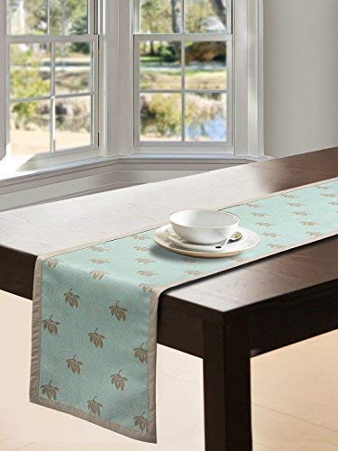 S9home by Seasons 6 Seater Floral Aqua & Beige Table Runner 72x12 inch