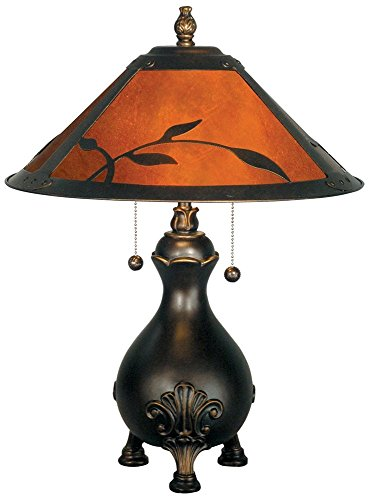 Antique Lamp Mica Table - Dale Tiffany TT90193 Mica Leafs Table Lamp, Antique Golden Sand