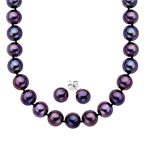 Black-Freshwater-Pearl-Necklace-and-Earring-Set-in-Sterling-Silver-85-105mm