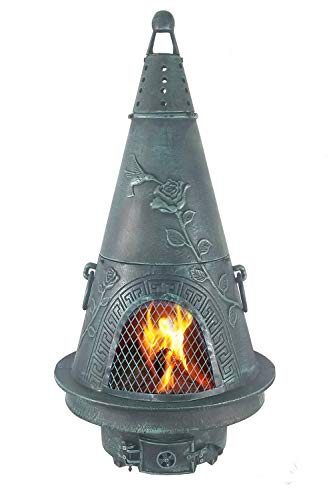 The Blue Rooster CAST ALUMINUM Garden Wood Burning Chiminea in Green.
