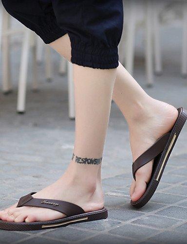 Leatherette Beach Summer Style Brown eu43 black Flops uk9 Men's us10 cn44 Black Shoes Casual Flip Outdoor NTX nX0TqYx