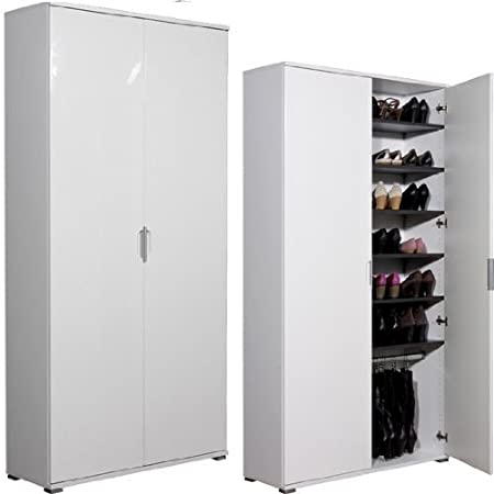 Delicieux Trento High Gloss White Large Shoe Cabinet, 3018 84 [3018 84]