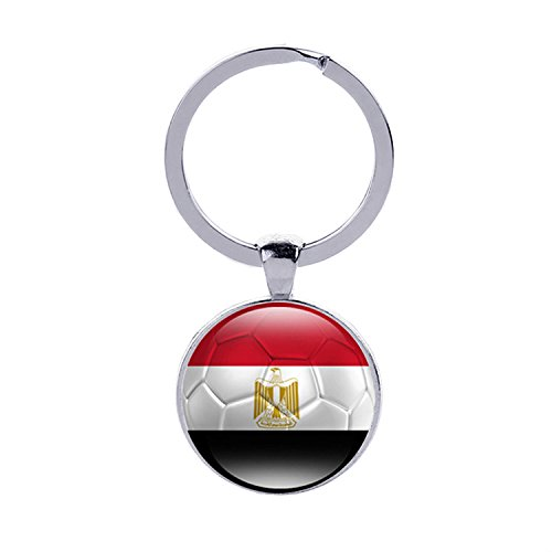 (2018 FIFA World Cup - The Arab Republic of Egypt National Flag Football Pattern Keychain ,2018 Russia Football Match, World Cup Jewelry, Photo Glass Dome Jewelry, Glass Cabochon Key Ring, Gifts)