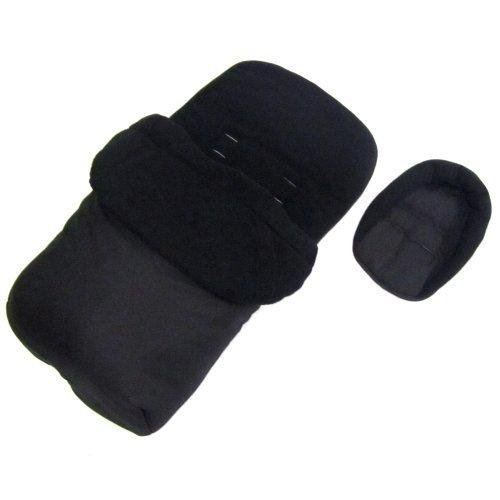 Deluxe 2in1 Universal Black Footmuff /& Headhugger To Fit Silver Cross Zest Stroller