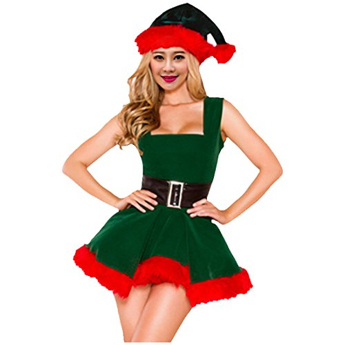 Ugly Turkey Costume (Partiss Women's Sexy Santa Baby Christmas Costume,One Size,As Picture)