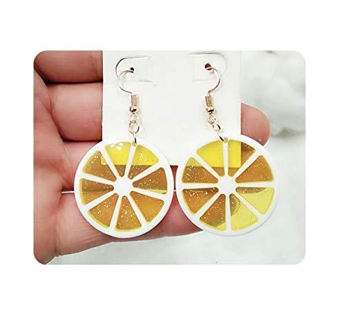 (Lemon Acrylic Dangle Earrings Fruit Earrings For Women Girls - Yellow)