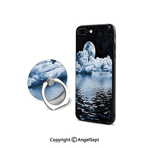 2008 Ultimate Star Materials - Protective Case Compatible iPhone 7/8 with 360°Degree Swivel Ring,The Moon Setting Over Clouds Water Reflections Stars Universe Themed Image Print Decorative,Cushion Protective Cute Case,Black Blue W