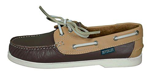 Beverly Originals-zapatos náuticos para hombre Casual-Mens Colour dunkelbraun/beige